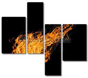large fireball with smoke on black