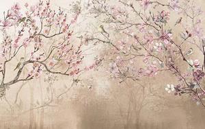 Цветущая сакура на бежевом фоне