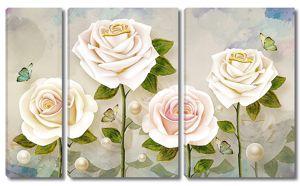 Розовые розы с бусинами