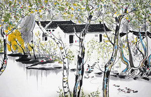 Белые домики на реке