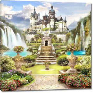 Дорога через сад к огромному замку