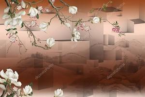 Белые цветы на ветке с кубами