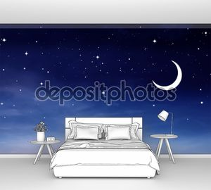 Ночное небо с месяцем
