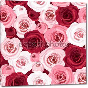 Бесшовный паттерн с красных и розовых роз. Векторные иллюстрации.