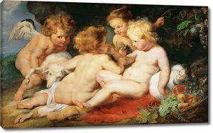 Рубенс. Маленькие Иисус с Иоанном Крестителем и два ангела