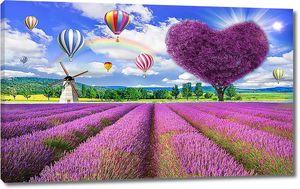 Лавандовое поле и дерево-сердце