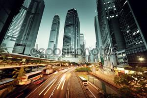 Трафик в Гонконге на время заката