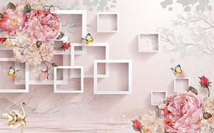Кудрявые розы с квадратами