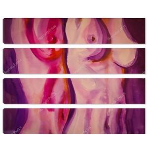 Иллюстрации, живопись Голая пара в розовом