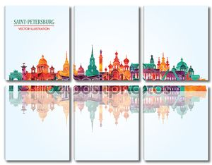Saint Petersburg detailed city skyline.