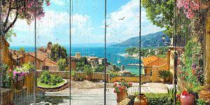 Вид с террасы на красивый город