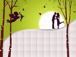 Фон с белыми плитками, деревья и любителей на фоне Луны