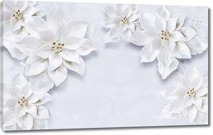Белые цветы на белом кафеле