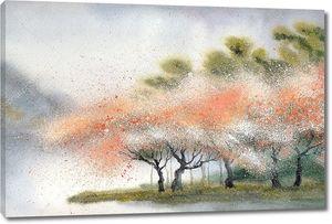 Акварель пейзаж. Цветущие деревья возле Рив