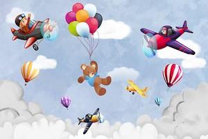 Воздушные шары, самолеты, плюшевый мишка