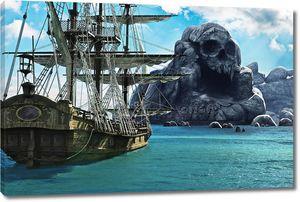 Поиск остров черепа. Пират или торговец парусное судно на якорь вблизи Остров таинственный черепа