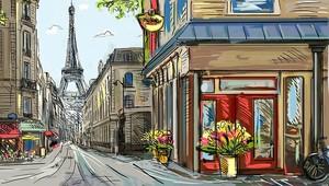 Прекрасный рисунок улицы в Париже
