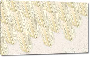 Бежевый фон с большими абстрактными перьями