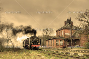 Старый ретро паровой поезд