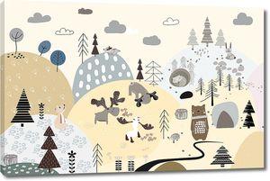 Scandinavika I-В бежевом аппликационном лесу