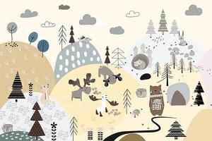 Лоси и медведь в аппликационном лесу