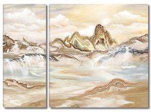 Мраморные горы с водопадом