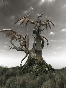 Драконы на корявые дерево