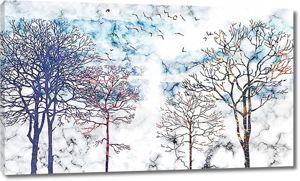 Деревья на цветном мраморе