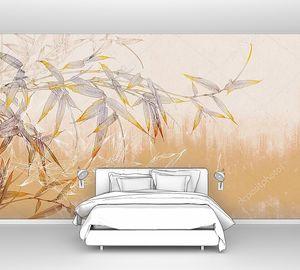Бамбуковая ветка на желтой бетонной гранж-стене