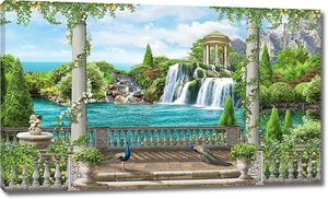 Терраса с видом на водопад с павлинами