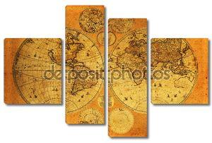 Старая бумага карта мира