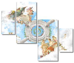 Облачное небо с множеством ангелов