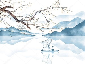 Лодка на фоне голубых гор