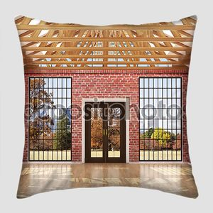 Empty room in a loft style, with red brick walls, big wood wind
