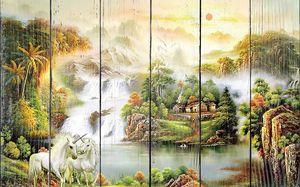 Два единорога у водопада