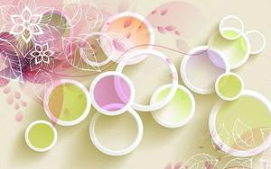 Белые кольца с цветными кругами