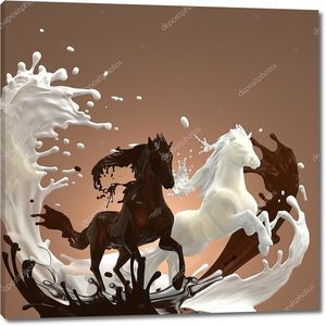 Жидкий крем Млечный и горячие коричневатые шоколад лошадей