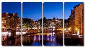 Амстердам каналы в ночное время