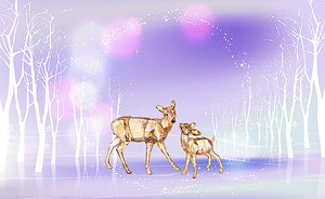 Олени в ледяном лесу