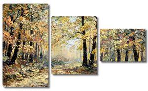 Осенний лес красками