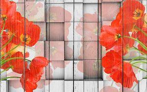 3D фон, кубики, красные тюльпаны