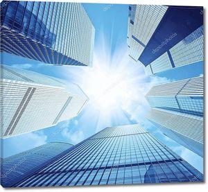 Современные небоскребы и солнечные блики