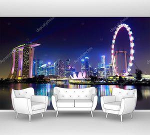 Горизонт города Сингапура ночью