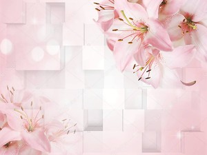 3D светло-розовый фон с большими лилиями