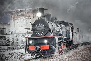 ретро паровой поезд.