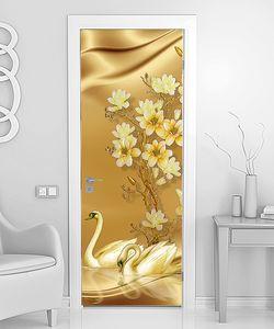 Лебеди с цветками на шелке