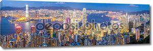 Панораму Гонконга в сумерках
