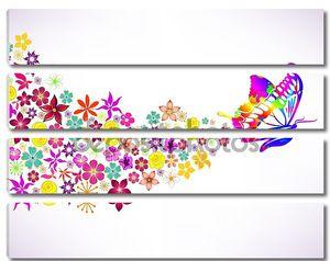 абстрактный фон с бабочкой и цветами