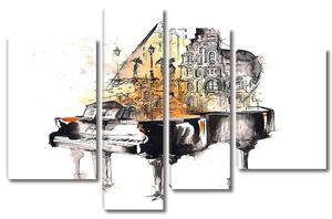 Нарисованный рояль на белом фоне