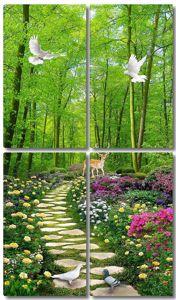 Мощеная дорожка в сказочном лесу